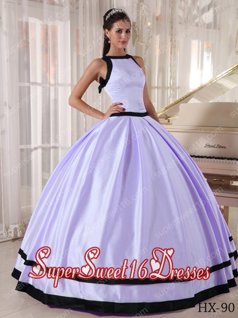 Custom Made Lavender and Black Ball Gown Bateau Satin Quinceanera Dress