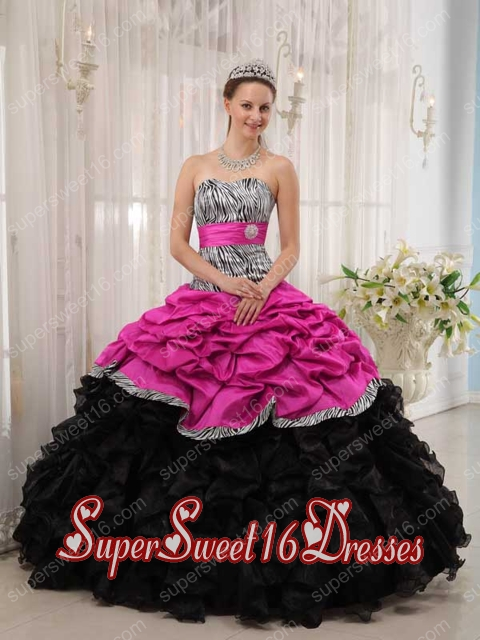 Ball Gown Belt Muti-color Ruffle Taffeta and Organza Sweet Sixteen Dress Discount 2014