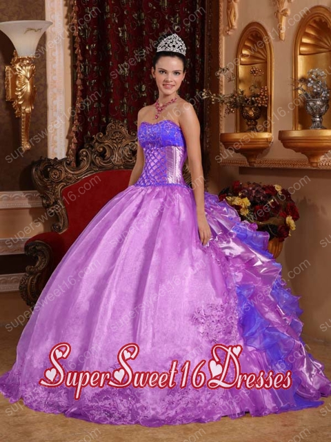 Beautiful Purple Ball Gown Strapless With Organza Embroidery And New Style For Sweet 16 Dresses