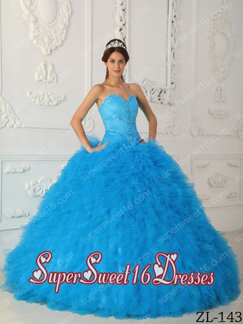 Sweetheart Satin and Organza 15th Birthday Party Dresses in Aqua Blue with Beading