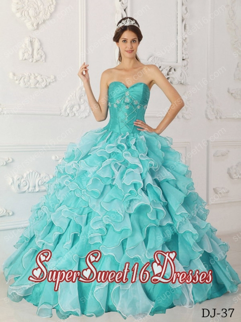 A-Line Sweetheart Taffeta and Organza Beading Popular Sweet 16 Dresses with Aqua Blue