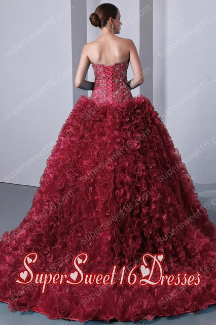 Red A-Line Sweetheart Brush Train Organza Beading and Ruffles Popular Sweet 16 Dresses
