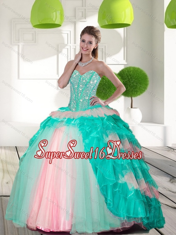 2015 Elegant Beading and Ruffled Layers Quinceanera Gowns in Multi Color