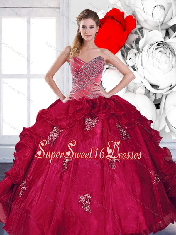 2015 Exclusive Sweetheart Ball Gown 15th Birthday Party Dresses with Appliques