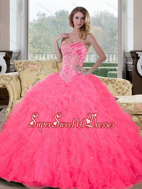 Inexpensive Sweetheart Beading and Ruffles 15th Birthday Party Dresses for 2015