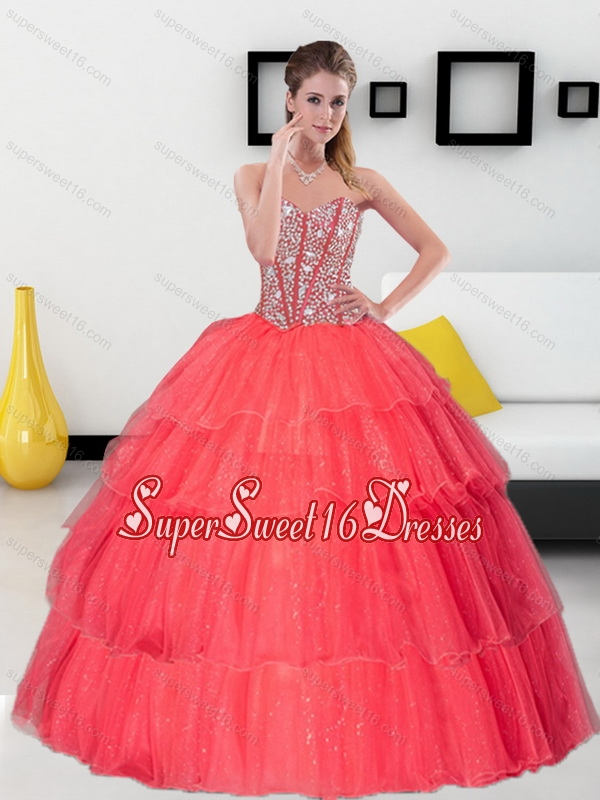 Unique Spaghetti Straps 2015 Quinceanera Dresses with Beading