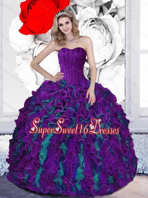 2015 New Style Beading and Ruffles Sweetheart Multi Color Sweet 16 Dresses