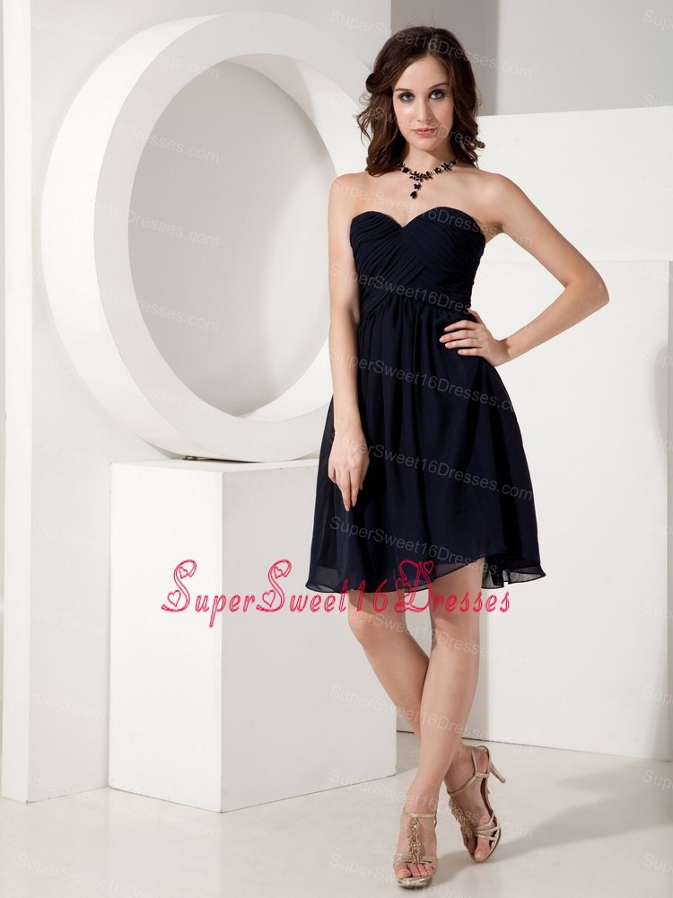 Navy Empire Sweetheart Mini-length Chiffon Ruched Sweet 16 Dama Dresses