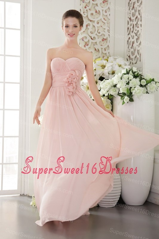 Pink Empire Sweetheart Floor-length Chiffon 3D Flower Dama dresses