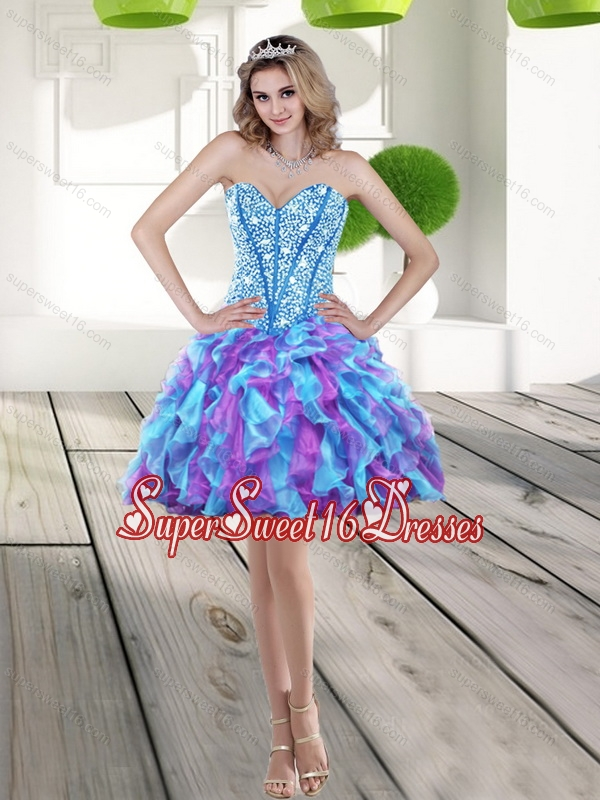 Elegant 2015 Beading and Ruffles A Line Dama Dress in Multi Color
