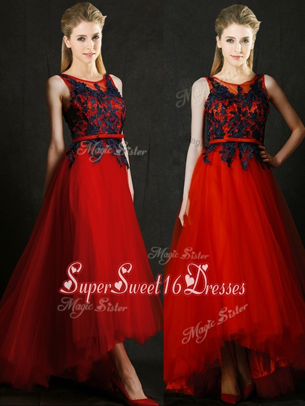 2016 Perfect High Low Belted and Black Applique Dama Dress in Red