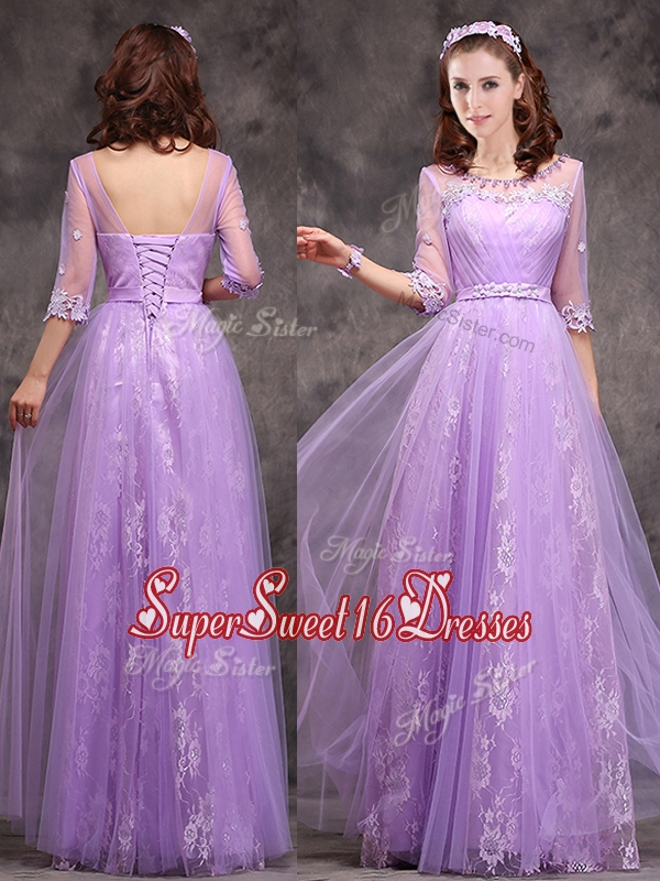 2016 Popular Half Sleeves Lavender Dama Dress with Appliques and Beading