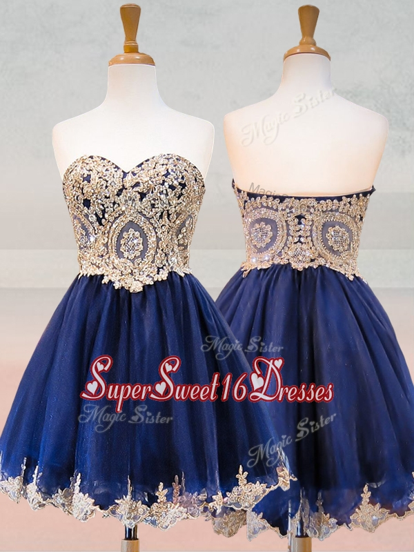 Fashionable Organza Applique with Beading Dama Dress in Royal Blue
