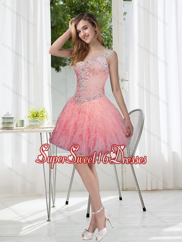 Exquisite Beading and Ruffles Watermelon Quinceanera Dama Dresses for 2015