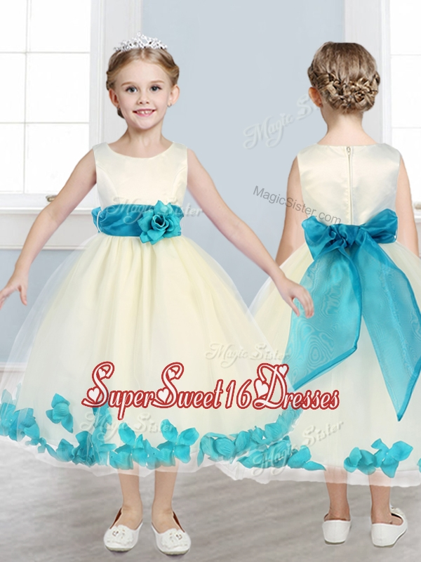 Lovely Scoop Girls Pageant Dresses with Teal Hand Made Flowers
