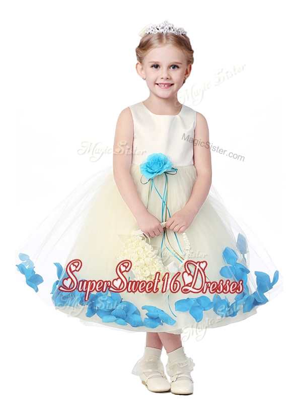 Lovely Tea Length Scoop Girls Pageant Dresses with Hand Made Flowers and Appliques