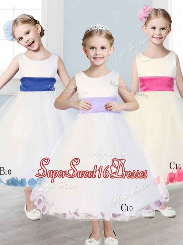 New Scoop Tulle Girls Pageant Dresses with Sashes and Appliques