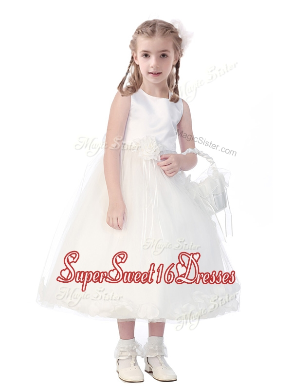 New Style Scoop Hand Made Flowers and Appliques Girls Pageant Dresses in White