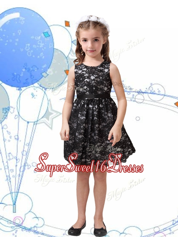 Romantic Scoop Black Little Girl Pageant Dress with Sashes and Lace