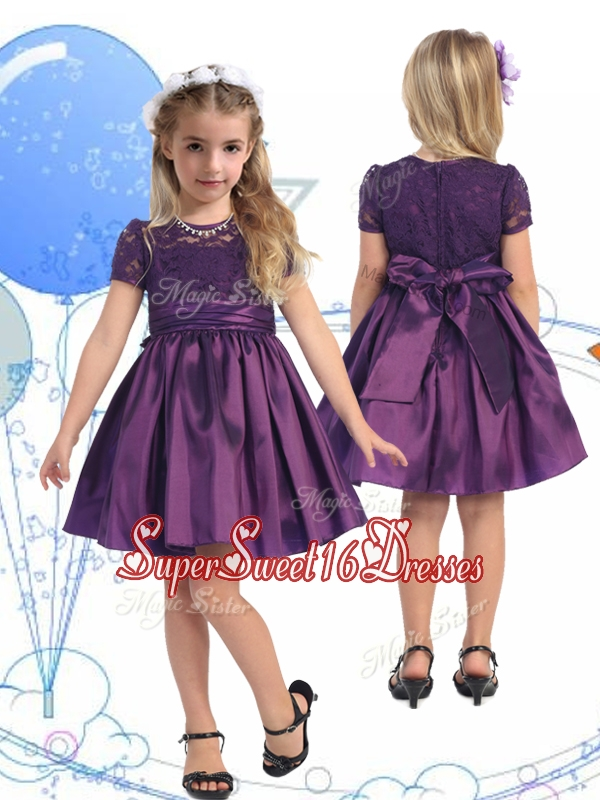 See Through Scoop Purple Little Girl Pageant Dress with Lace and Belt