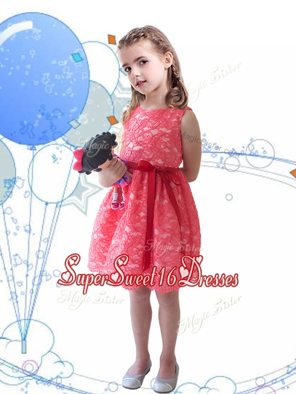 New Style Scoop Sashes and Lace Mini Quinceanert Dress in Coral Red