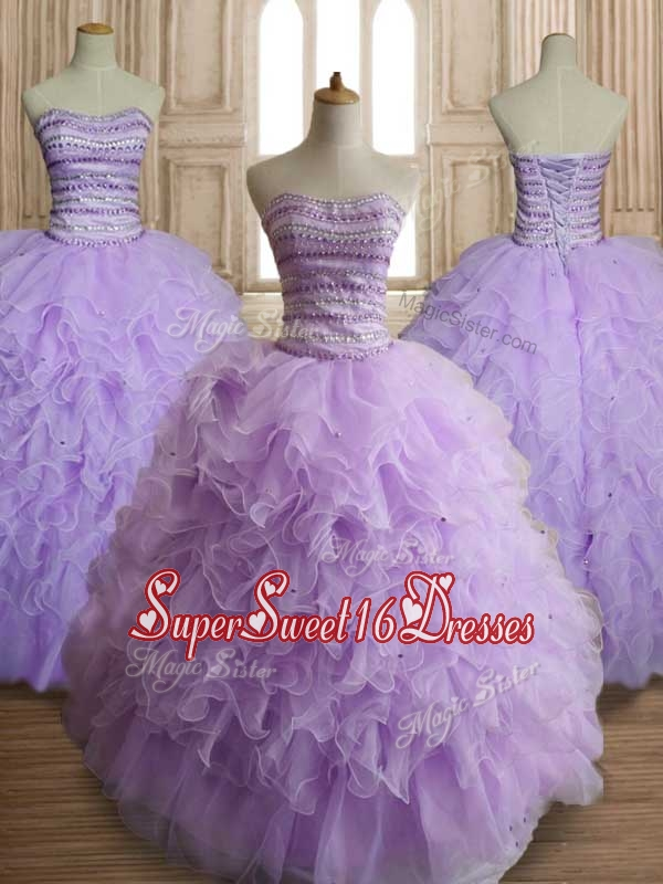 Exclusive Beaded and Ruffled Big Puffy Quinceanera Dress in Lavender