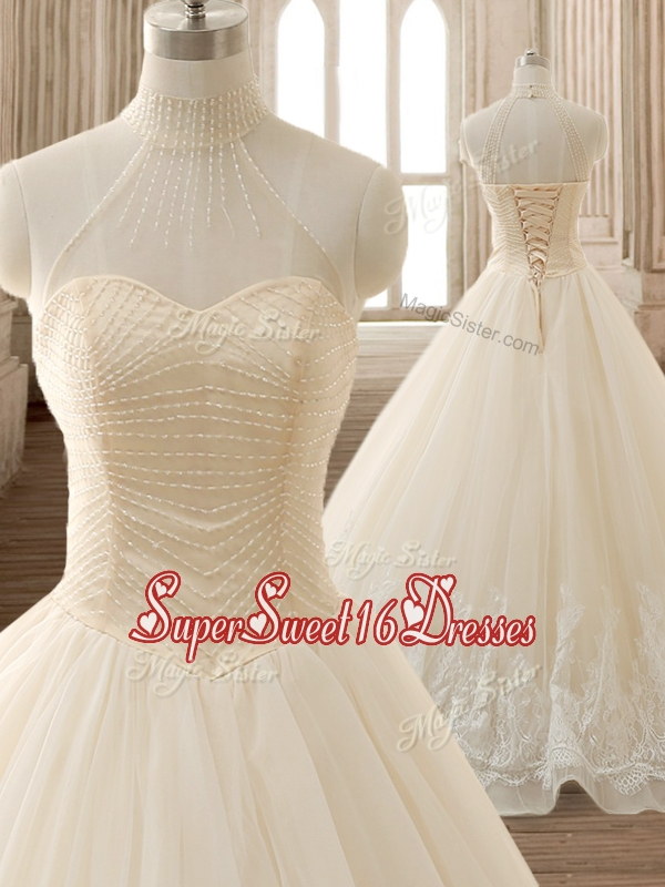 See Through High Neck Champagne Quinceanera Dress with Beading and Appliques