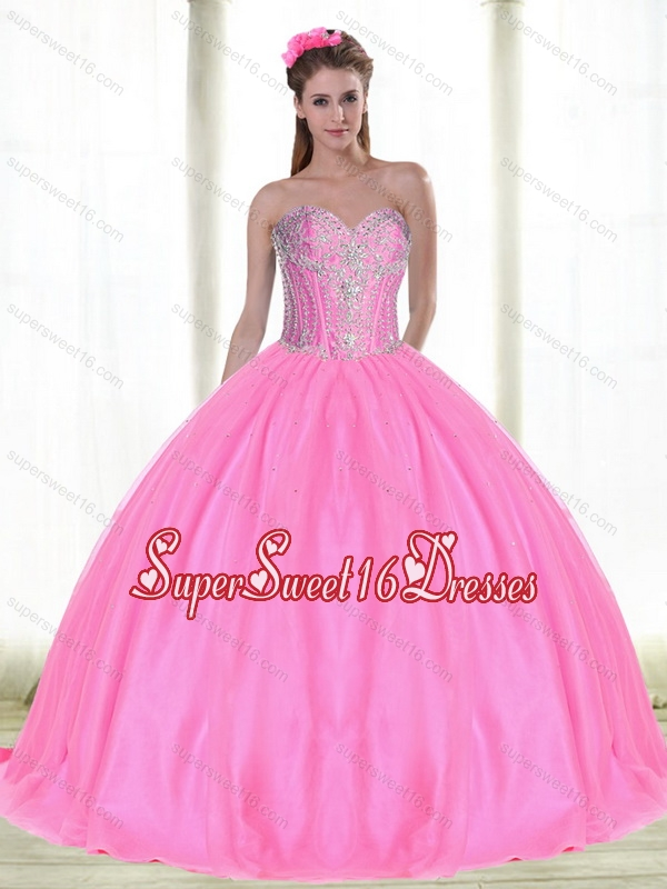 Elegant Sweetheart Quinceanera Dresses with Beading in Pink for Summer