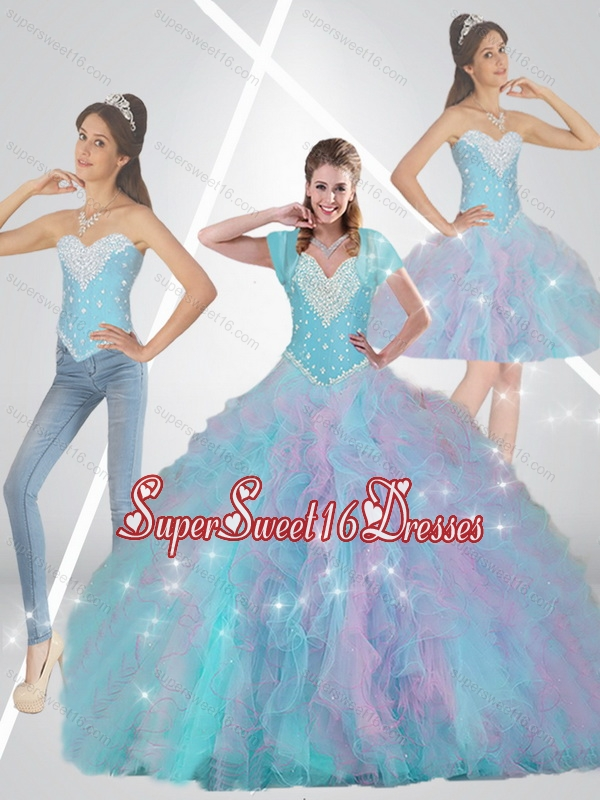 Romantic Multi Color 15th Birthday Party Dresses with Beading and Ruffles for Summer