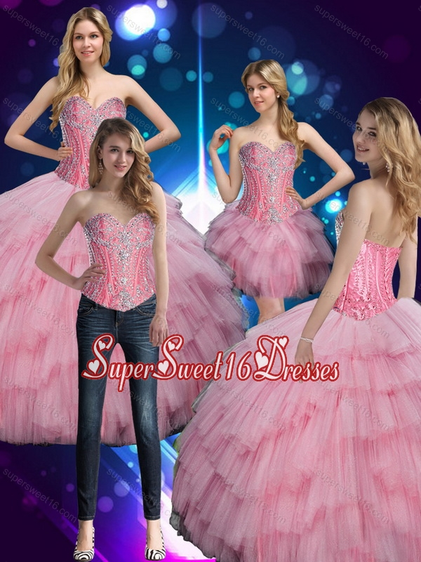 2015 Prefect Sweetheart Baby Pink Quinceanera Dress with Beading for Summer