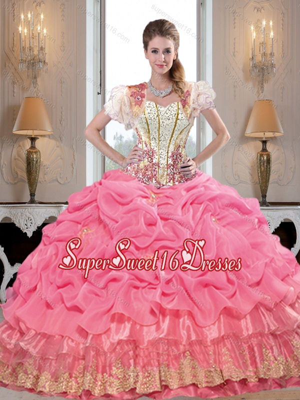 Comfortable Sweetheart Sweet 16 Ball Gowns with Appliques and Beading for Summer