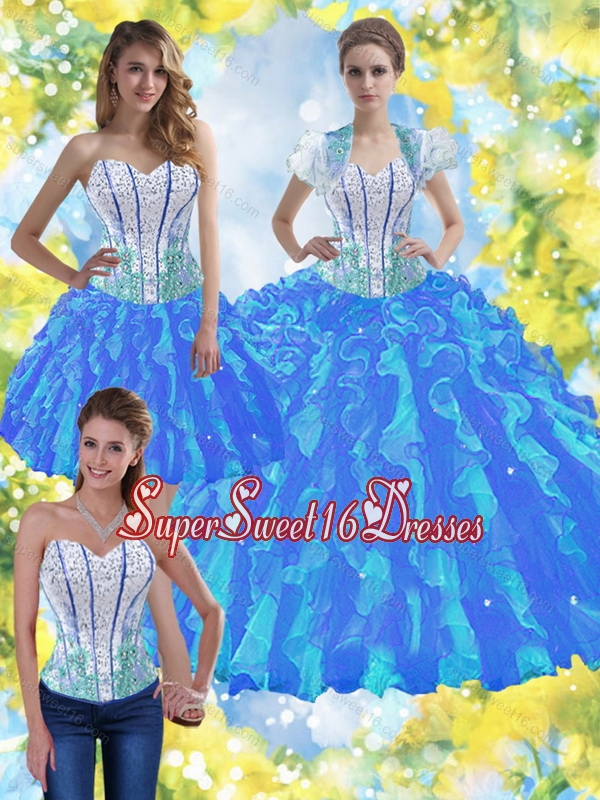 Elegant Sweet 16 Ball Gowns with Beading and Ruffles for Summer