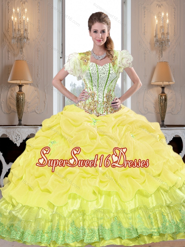 Fitting Yellow 2015 Sweet 16 Ball Gowns with Beading and Pick Ups for Summer