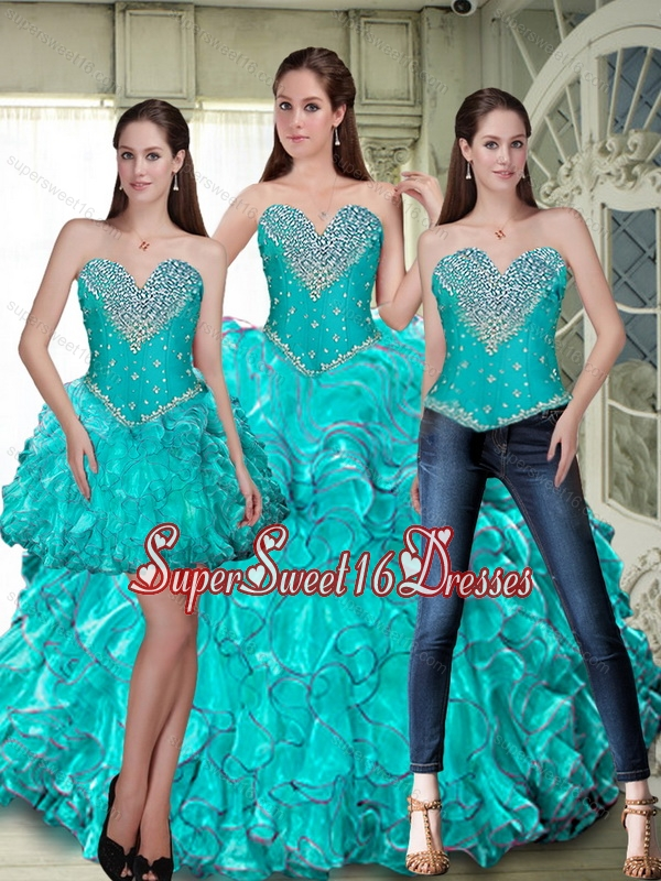 Luxurious Lace Up Sweet 16 Ball Gowns with Beading and Ruffles for Fall