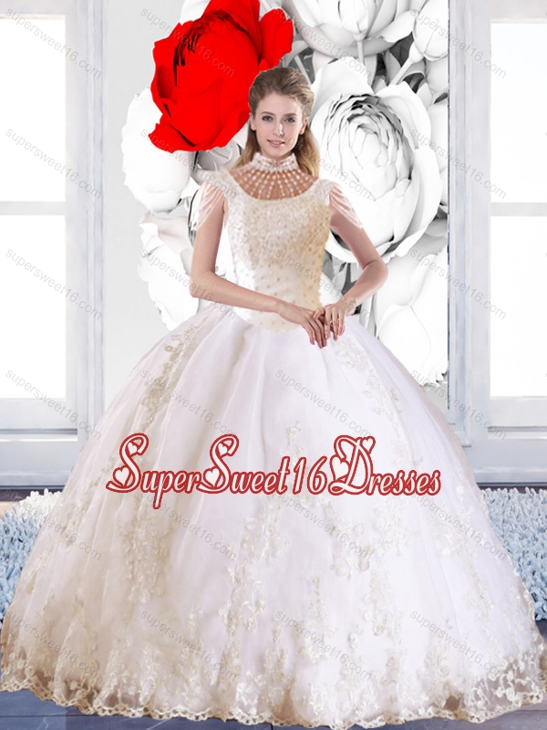 Popular 2015 Laceed and Beaded Sweet 16 Ball Gowns with High Neck for Summer