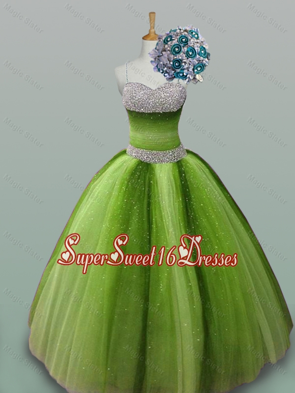 2015 Puffy Most Popular Quinceanera Dresses with Spaghetti Straps