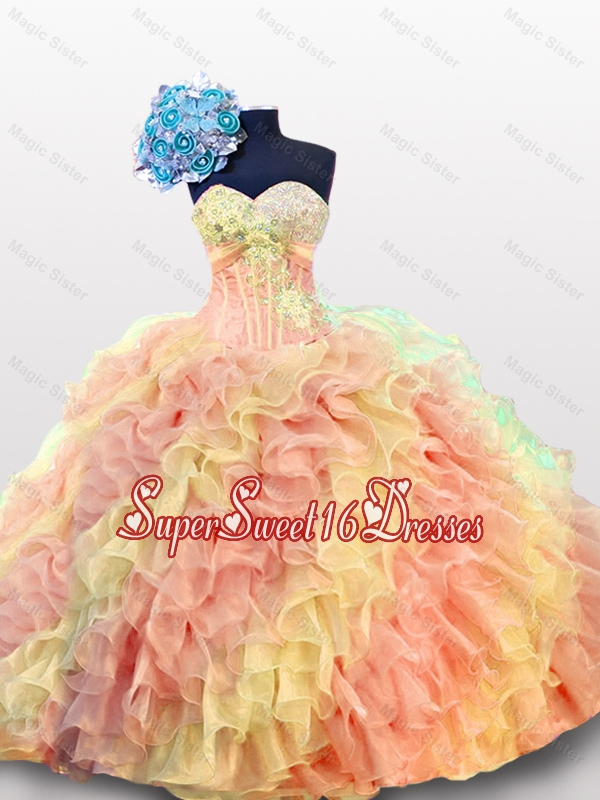2015 Summer Sexy Sweetheart Quinceanera Dresses with Beading