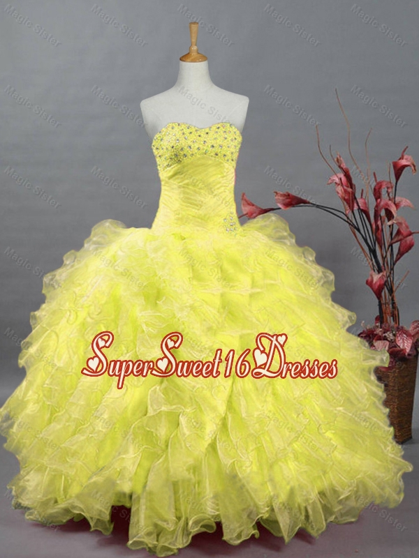 Elegant Sweetheart Quinceanera Dresses with Beading and Ruffles for 2015
