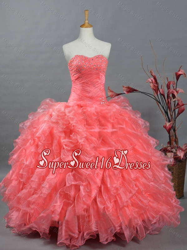 Puffy Sweetheart Beading Watermelon Quinceanera Dresses for 2015
