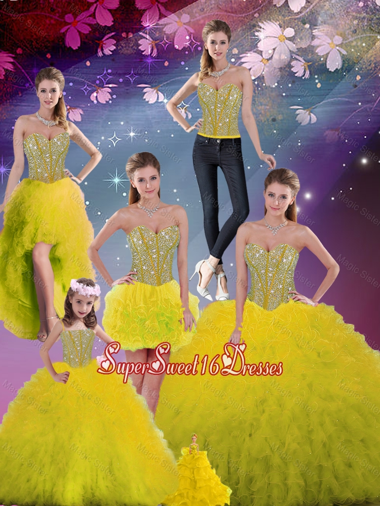 Detachable 2016 Spring Sweetheart Yellow Modest Quinceanera Dresses with Beading and Ruffles