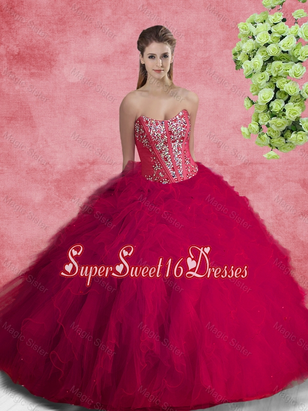 2016 Spring Pretty Quinceanera Dresses with Beading and Ruffles