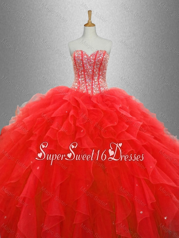 Popular Red Sweet 16 Dresses with Beading and Ruffles
