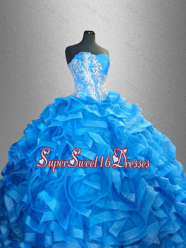 2016 Romantic Sweetheart Quinceanera Dresses with Beading and Ruffles