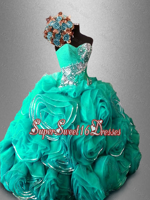 Discount Ball Gown Sweet 16 Dresses with Beading and Rolling Flowers