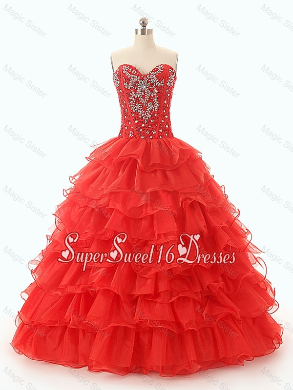 Popular Beaded and Ruffled Layers Custom Made Sweet 16 Dresses in Red