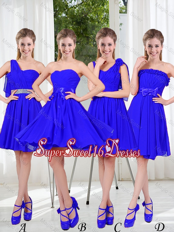 Elegant A Line Sweetheart Dama Dresses in Royal Blue