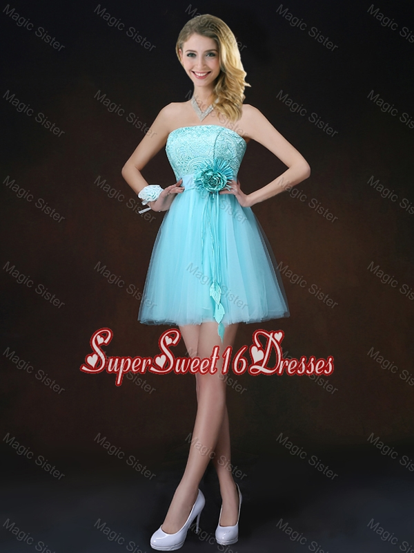 Cheap Lace Short Dama Dresses in Aqua Blue