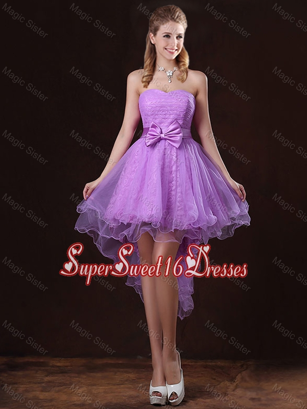 Pretty Strapless Bowknot Dama Dresses with High Low