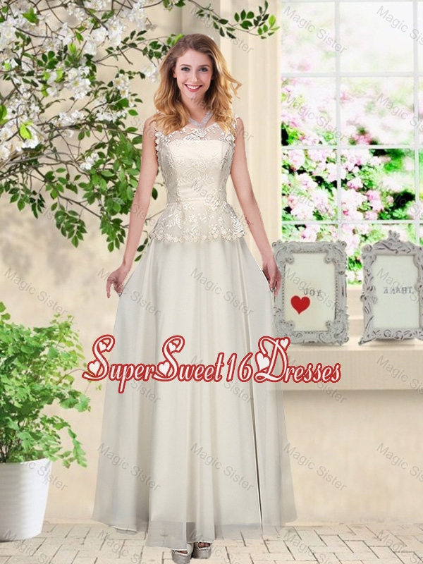 Perfect Champagne Quinceanera Dama Dresses with Appliques and Lace