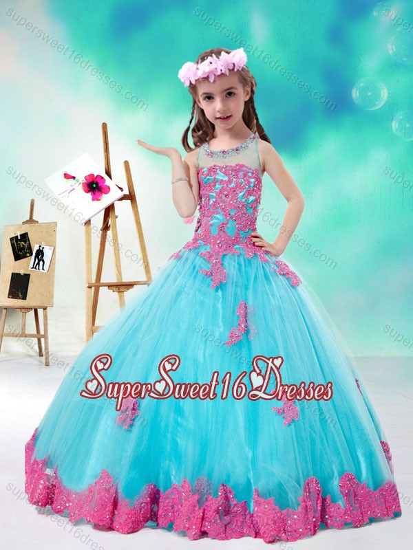 Cheap Scoop Multi Color Little Girl Pageant Dresses with Appliques